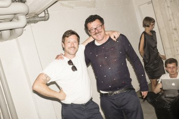Carlo Antonelli (GQ Italy) congratulating a very excited Uwe Jens Bermeitinger (TISSUE Magazine) to the exhibition.