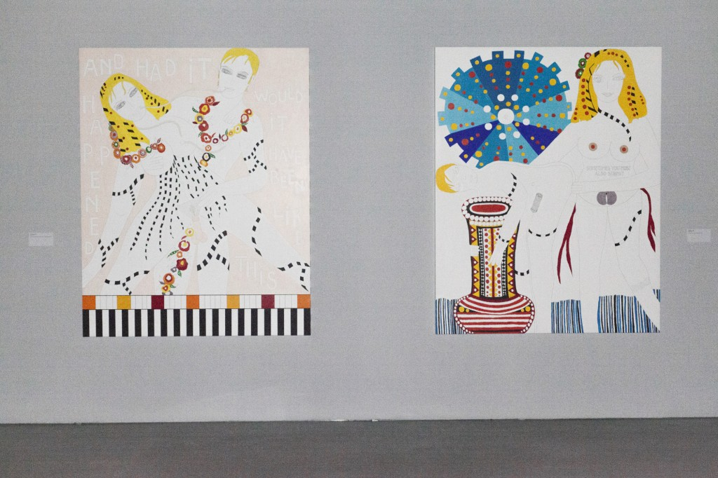left: Dorothy Iannone, Luminos, 2012, courtesy the artist, Air de Paris, Paris und Peres Projects, Berlin right: Dorothy Iannone, Metaphor, 2009, Collection Javier Peres and Carlos Andres Peres