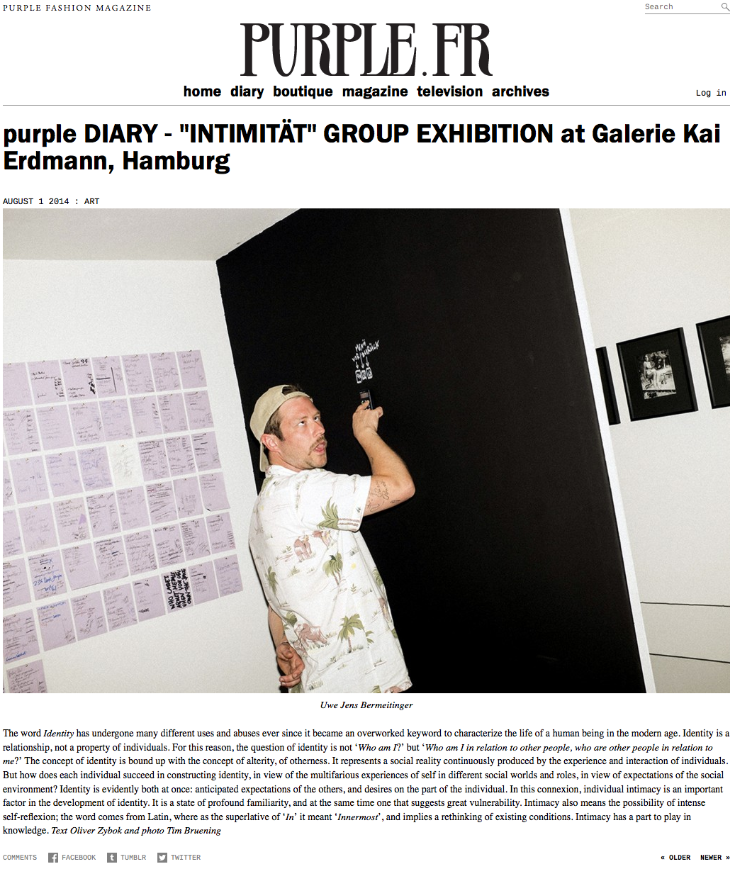 Our chief creative Uwe is behaving bad infront of his installation on purple DIARY: